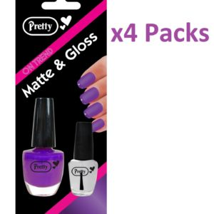 Nail Polish Varnish Matte & Gloss 9ml Matte 4.5ml Clear Purple Pack Of 4