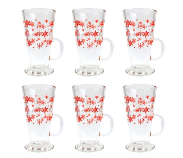 PACK OF 6 CHRISTMAS LATTE GLASSES