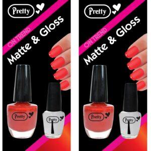 Pretty Nail Varnish Matte & Gloss Set | 9ml Red Varnish 4.5ml Clear Gloss - x2