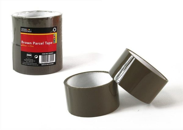 Brown Parcel Tape Strong 25m Carton Packaging Pack of 2 Warehouse Packing