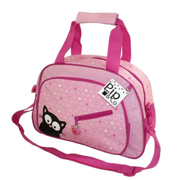 'Pip & Co' Pink Heart Holdall Ideal for School or Luggage