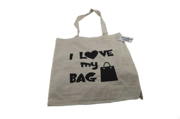 Tote Shopping Bag 100% Cotton Shoulder Strap Reusable - I Love My Bag