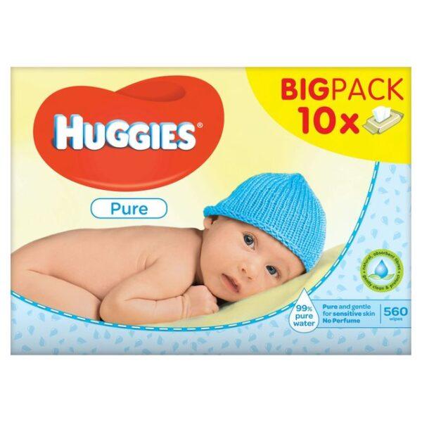 10 x Huggies Pure baby wipes 56 pack