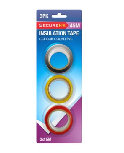 Secure Fix Insulation Tape Colour Coded PVC 3 x 15m