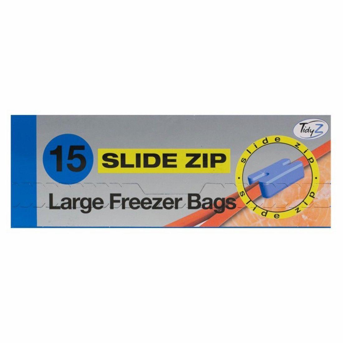 Tidyz Extra Large Bags Slide Zip Resealable Reusable Freezer Food 15's