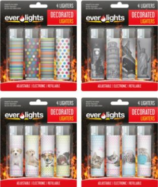 Ever Lights Decorated Lighters (4 Lighters)