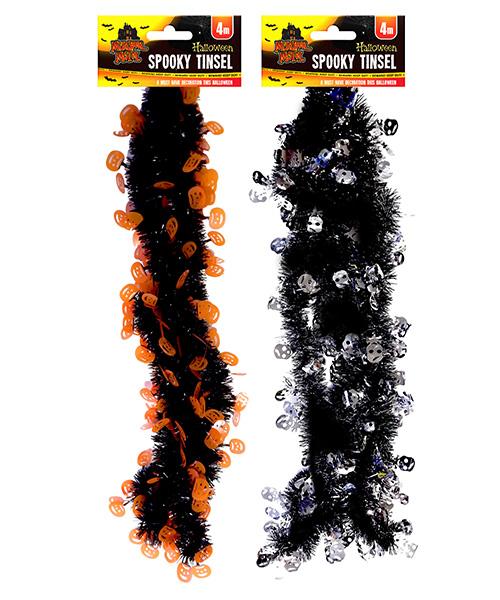Halloween Murder Motel Spooky Tinsel 4 Meters Silver & Black