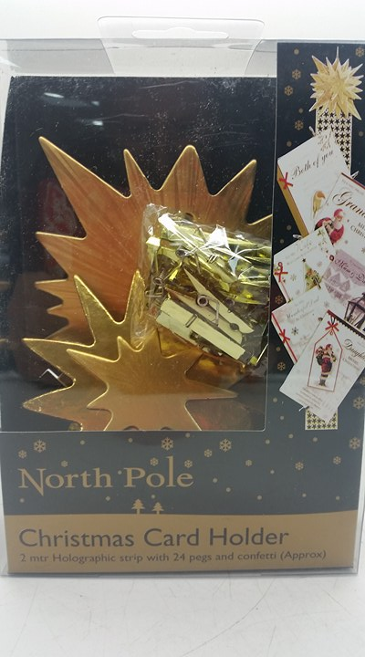 North Pole Christmas Card Holder Gold