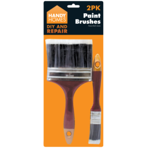 "2PK Paint Brushes Assorted Size Handy Home 4"" &1"""
