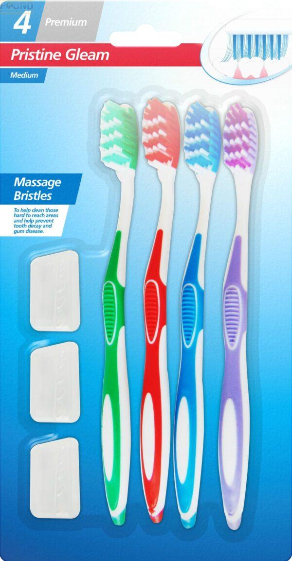 Pristine Gleam Medium Toothbrushes 4 Pack