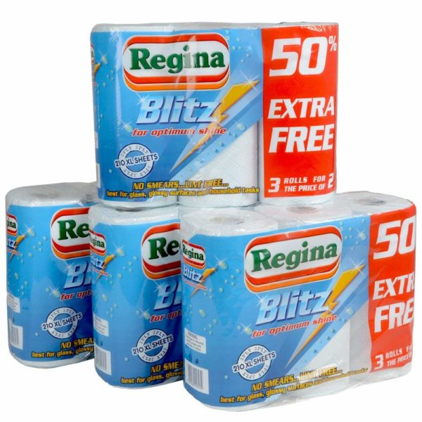 12 Rolls Of Regina Blitz 3ply Kitchen Roll Paper Towel