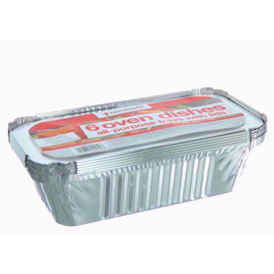 6 Large Foil Containers with lids 201mm X 110mm X 56mm