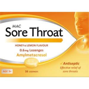 Mac Sore Throat Honey & Lemon 16 Lozenges