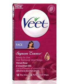 Veet Suprem Face Essence Hair Removal Wax Strips Velvet Rose & Essential Oils